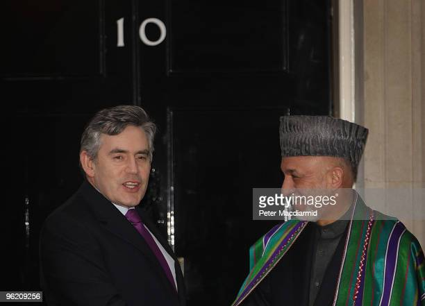 Prime Minister Gordon Brown welcomes Afghan President Hamid Karzai to 10 Downing Street on January 27, 2010 in London, England. The Afghanistan...