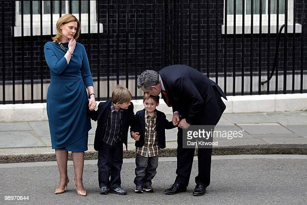 Prime Minister Gordon Brown wife Sarah Brown and children James Fraser and John leave Downing Street on May 11 2010 in London England After five days...