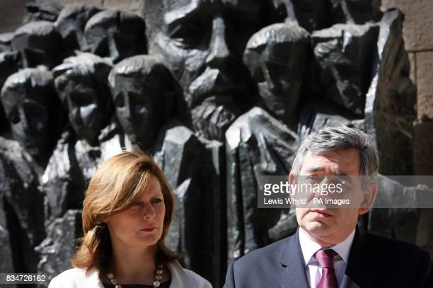 Prime Minister Gordon Brown with his wife Sarah during a visit to Yad Vasham in Israel speaks in front of the Korczak and the Ghetto's Children...
