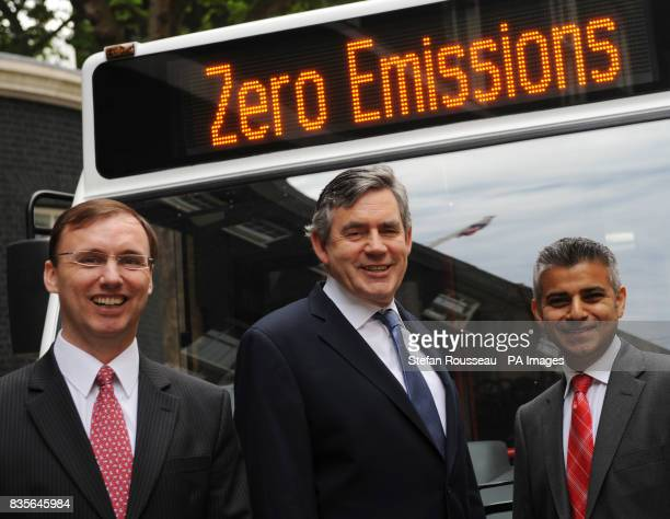 Prime Minister Gordon Brown with the bus company MD takes a look at the first readyforservice fully batterypowered bus in Downing Street London