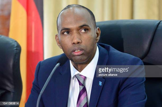 Prime Minister Hassan Ali Khaire taking part in a press conference with German Foreign Minister Sigmar Gabriel in Mogadishu Somalia 01 May 2017 Photo...
