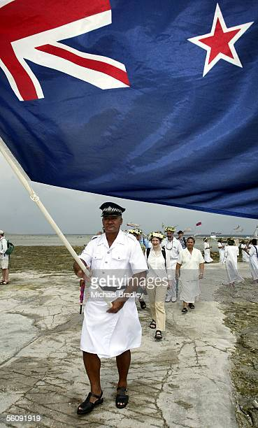 Prime Minister Helen Clark is welcomed onto Afafu Tokelau Monday 09 August 2004 during a two day visit to Tokelau after the finish of the 35th...