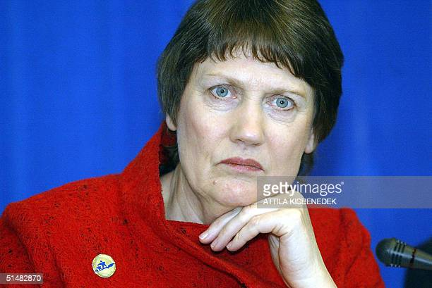 Prime Minister Helen Clark of NewZealand listens during the political leaders closing press conference of the 'Progressive Governance' Summit in the...