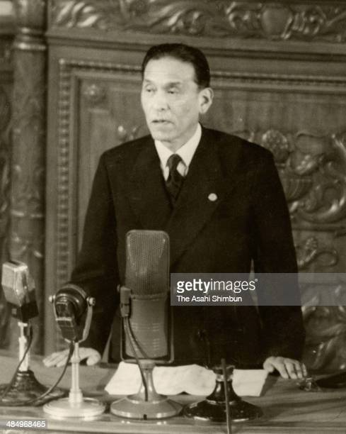 Prime Minister Hitoshi Ashida addresses his policy speech at the lower house of the diet on March 20, 1948 in Tokyo, Japan. Hitoshi Ashida was the...