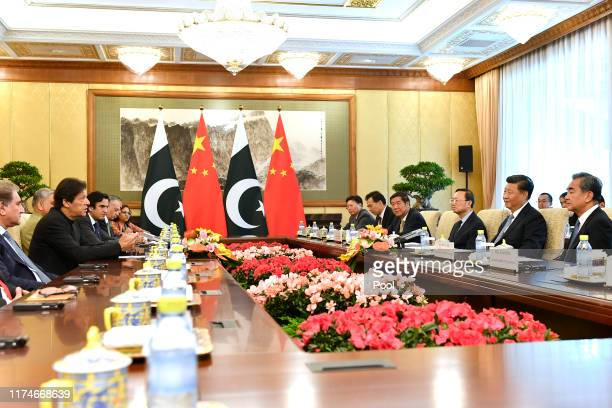 Prime Minister Imran Khan of Pakistan meets with Chinese President Xi Jinping at the Diaoyutai State Guesthouse on October 9, 2019 in Beijing, China.