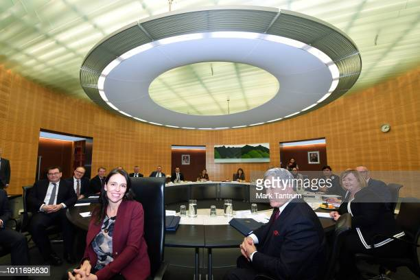 Prime Minister Jacinda Adern with Winston Peters and the rest of cabinet before their meeting on August 6 2018 in Wellington New Zealand Prime...