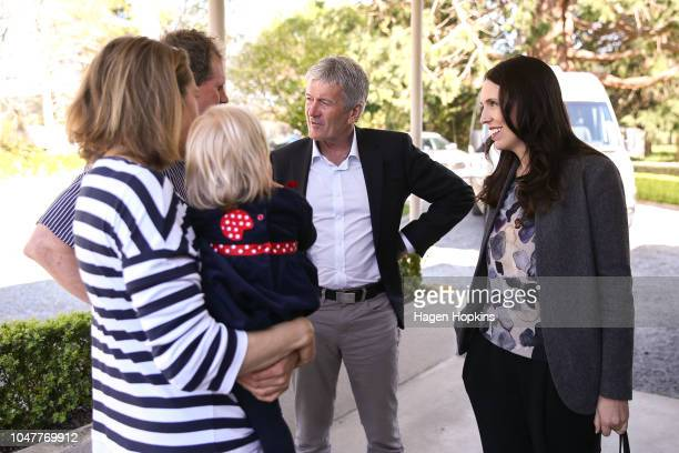 Prime Minister Jacinda Ardern and Biosecurity Minister Damien OÕConnor speak to Julie and Bryce Stevenson and daughter Rose during a visit to the...