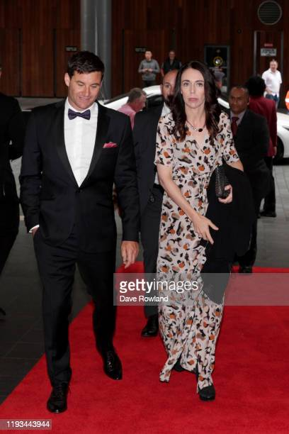Prime Minister Jacinda Ardern and Clarke Gayford arrive for the New Zealand Rugby Awards at the Sky City Convention Centre on December 12 2019 in...