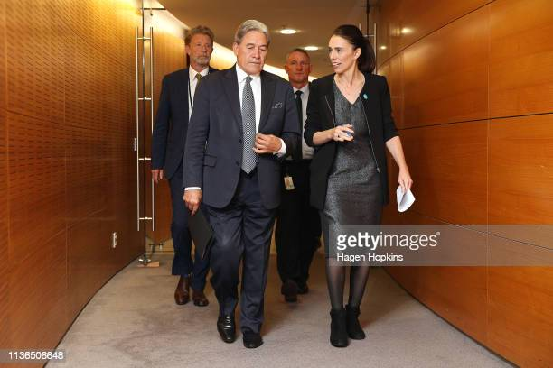 Prime Minister Jacinda Ardern and Deputy Prime Minister Winston Peters arrive at a press conference at Parliament on March 18, 2019 in Wellington,...