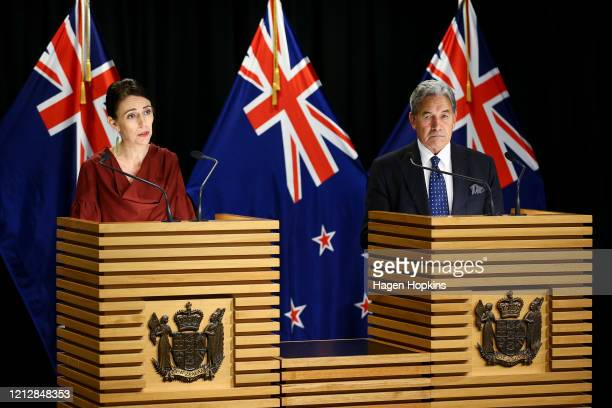 Prime Minister Jacinda Ardern and Deputy Prime Minister Winston Peters speak to media at a press conference following a COVID-19 financial response...