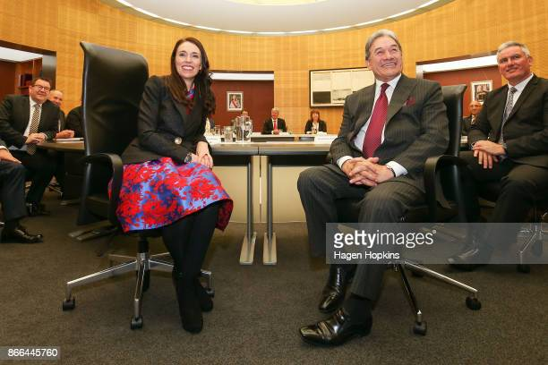 Prime Minister Jacinda Ardern and deputy Winston Peters pose during a cabinet meeting at Parliament on October 26 2017 in Wellington New Zealand...