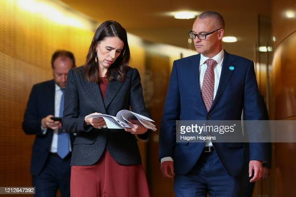 Prime Minister Jacinda Ardern and Health Minister David Clark arrive at a post cabinet press conference at Parliament on March 16, 2020 in...