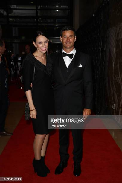 Prime Minister Jacinda Ardern and her partner Clarke Gayford pose on the red carpet during the 2018 ASB Rugby Awards at SkyCity Convention Centre on...