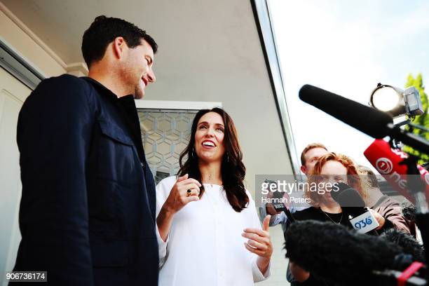Prime Minister Jacinda Ardern and her partner Clarke Gayford speak to the media January 19 2018 in Auckland New Zealand Jacinda Ardern and her...