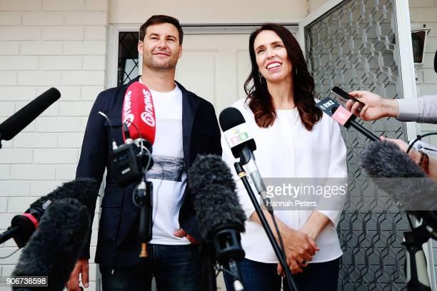 Prime Minister Jacinda Ardern and her partner Clarke Gayford speak to the media January 19 2018 in Auckland New Zealand Jacinda Ardern and her...