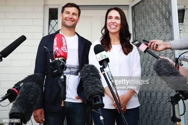 Prime Minister Jacinda Ardern and her partner Clarke Gayford speak to the media January 19, 2018 in Auckland, New Zealand. Jacinda Ardern and her...