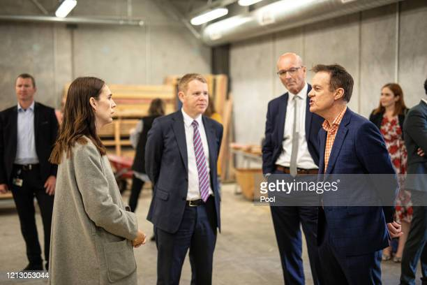 Prime Minister Jacinda Ardern and member of the New Zealand Parliament Chris Hipkins speak with Mark Oldershaw CE of Weltec and Whitireia and Warwick...