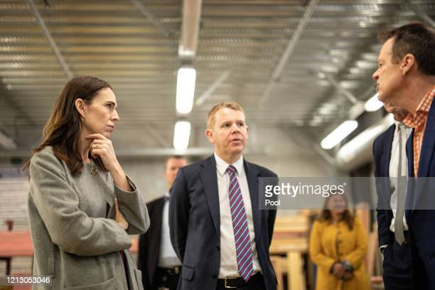 Prime Minister Jacinda Ardern and member of the New Zealand Parliament Chris Hipkins visit Weltec School of Construction on May 15 2020 in Wellington...