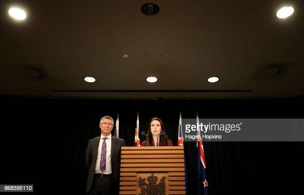 Prime Minister Jacinda Ardern and Minister for Economic Development David Parker look on during a post cabinet press conference at Parliament on...