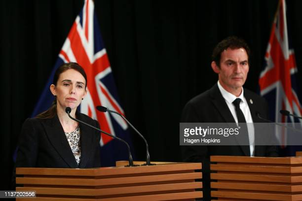 Prime Minister Jacinda Ardern and Minister of Police Stuart Nash speak to media during a press conference at Parliament on March 21 2019 in...