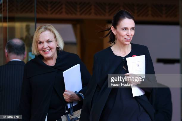 Prime Minister Jacinda Ardern and National Party leader Judith Collins look on after the State Memorial Service for Prince Philip, Duke of Edinburgh,...
