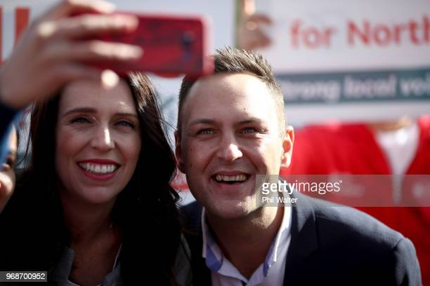 Prime Minister Jacinda Ardern and Northcote Labour candidate Shanan Halbert meet shoppers at the Northcote Shopping Centre on June 7 2018 in Auckland...