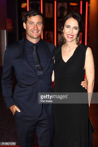 Prime Minister Jacinda Ardern and partner Clarke Gayford arrive ahead of the 55th Halberg Awards at Spark Arena on February 8 2018 in Auckland New...