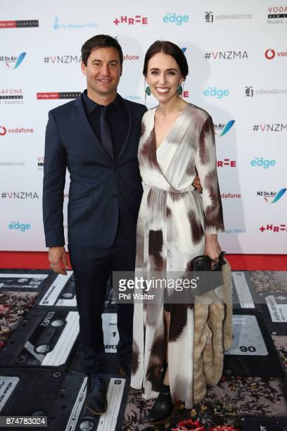 Prime Minister Jacinda Ardern and partner Clarke Gayford arrive for the 2017 Vodafone New Zealand Music Awards on November 16 2017 in Auckland New...
