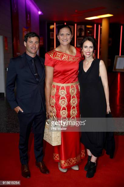 Prime Minister Jacinda Ardern and partner Clarke Gayford pose with Valerie Adams as they arrive ahead of the 55th Halberg Awards at Spark Arena on...