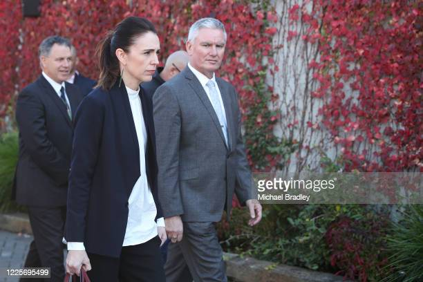 Prime Minister Jacinda Ardern and Tourism Minister Kelvin Davis take a tour of Te Puia New Zealand Māori Arts and Crafts Institute on May 19 2020 in...
