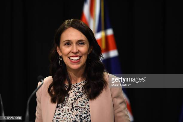 Prime Minister Jacinda Ardern announces a nurses pay settlement during a press conference at Parliament on August 7 2018 in Wellington New Zealand...