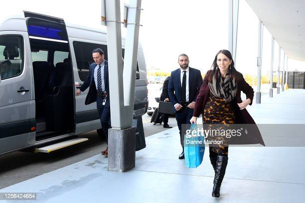 Prime Minister Jacinda Ardern arrives at the Invercargill airport for departure on July 16 2020 in Invercargill New Zealand The New Zealand...