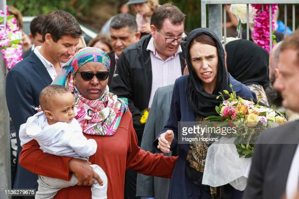 Prime Minister Jacinda Ardern arrives at the Kilbirnie Mosque on March 17, 2019 in Wellington, New Zealand. 50 people are confirmed dead and 36 are...