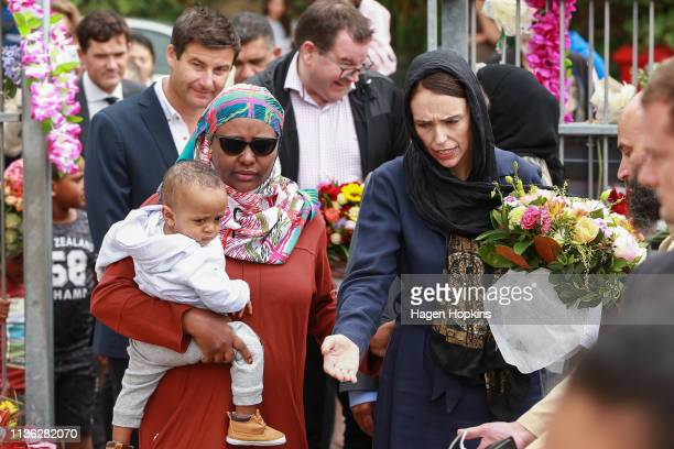 Prime Minister Jacinda Ardern arrives at the Kilbirnie Mosque on March 17 2019 in Wellington New Zealand 50 people are confirmed dead and 36 are...