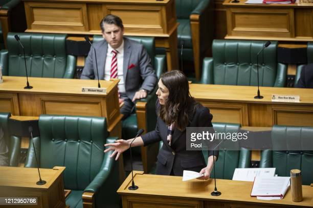 Prime Minister Jacinda Ardern delivers her Budget 2020 speech in Parliament on May 14 2020 in Wellington New Zealand Budget 2020 is the second budget...