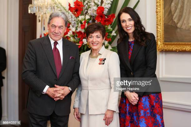 Prime Minister Jacinda Ardern deputy Winston Peters and GovernorGeneral Dame Patsy Reddy pose during a swearingin ceremony at Government House on...