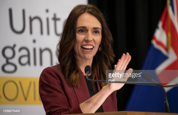 Prime Minister Jacinda Ardern during the media update at Parliament on April 8, 2020 in Wellington, New Zealand. New Zealand has been in lockdown...