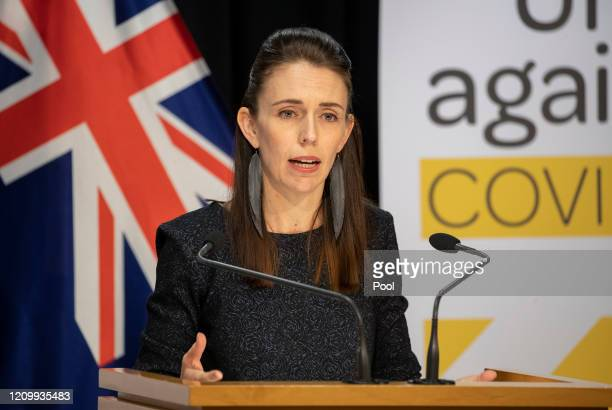 Prime Minister Jacinda Ardern during the update on the All of Government COVID19 national response at Parliament on April 15 2020 in Wellington New...