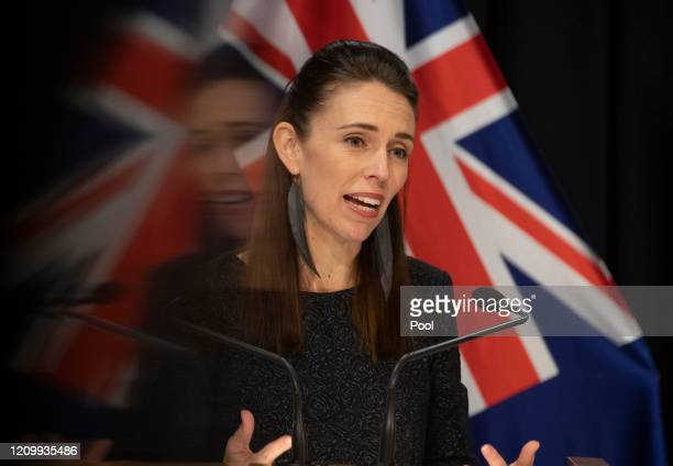 Prime Minister Jacinda Ardern during the update on the All of Government COVID-19 national response, at Parliament on April 15, 2020 in Wellington,...