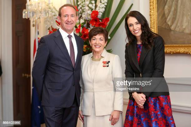 Prime Minister Jacinda Ardern former Labour leader Andrew Little and GovernorGeneral Dame Patsy Reddy pose during a swearingin ceremony at Government...