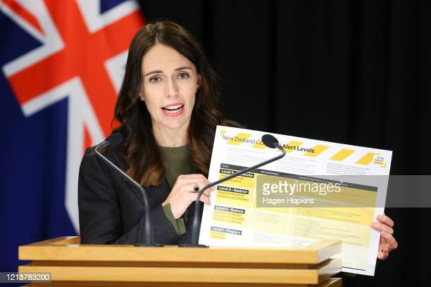 Prime Minister Jacinda Ardern holds up informationon COVID-19 alert levels during a press conference at Parliament on March 21, 2020 in Wellington,...