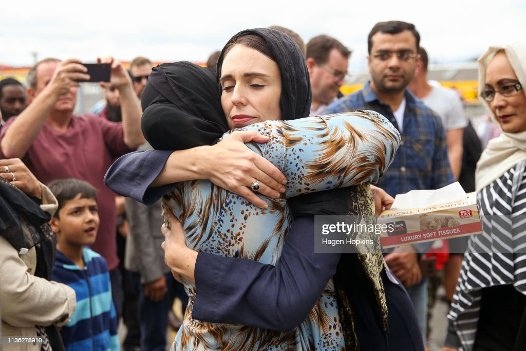 Prime Minister Ardern Lays Wreath And Visits With Islamic Community Leaders At Kilbirnie Mosque : News Photo
