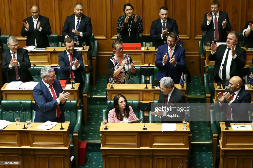 Prime Minister Jacinda Ardern is applauded by colleagues after her speech during the 2018 budget presentation at Parliament on May 17, 2018 in Wellington, New Zealand. Grant Robertson delivered his first budget which sees a large investment in the health sector including cheaper doctor visits and investment in hospitals along with $1.6b dollars of new funding for the education sector over the next four years.