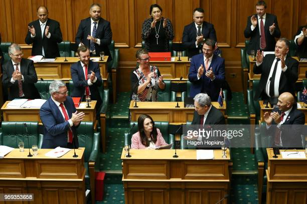 Prime Minister Jacinda Ardern is applauded by colleagues after her speech during the 2018 budget presentation at Parliament on May 17 2018 in...