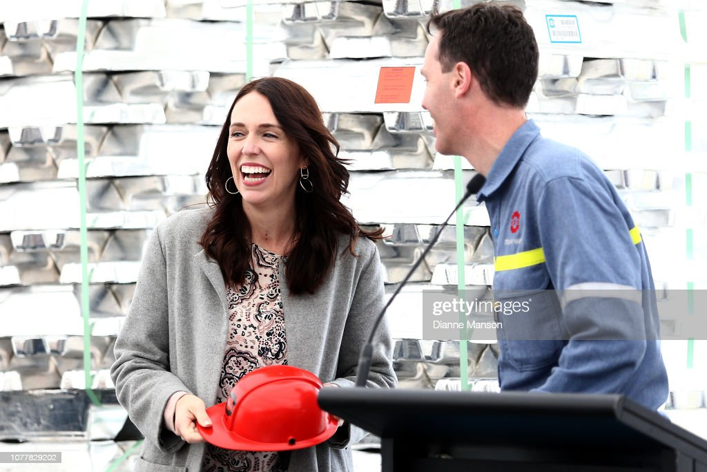 Prime Minister Jacinda Ardern Visits Tiwai Point Aluminium Smelter : News Photo