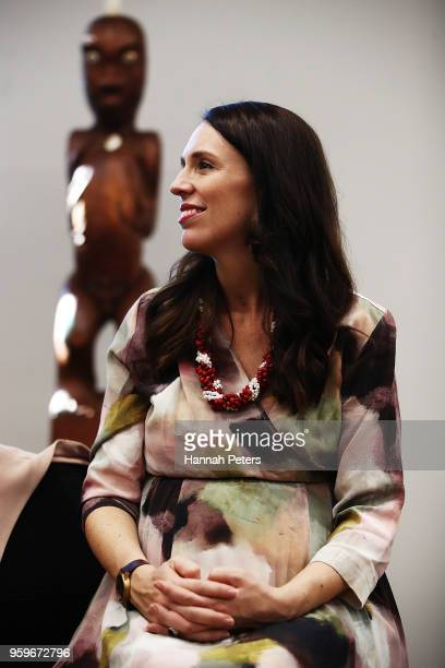 Prime Minister Jacinda Ardern is seen during a visit to North Shore Hospital on May 18 2018 in Auckland New Zealand The Labour government announced a...
