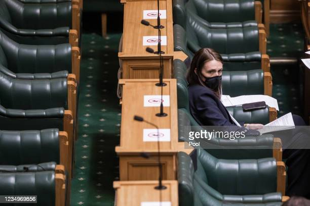 Prime Minister Jacinda Ardern is seen during Question time and sitting of the House in Alert Level Four lockdown in the House of Representatives...