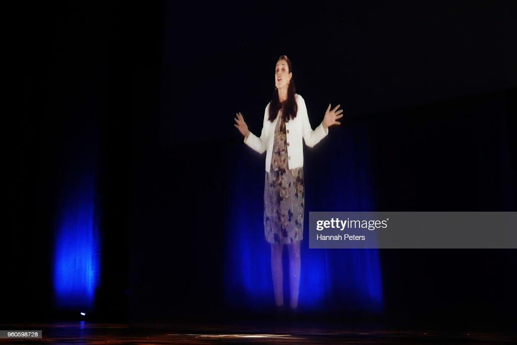 Prime Minister Jacinda Ardern Opens Techweek'18 As A Hologram