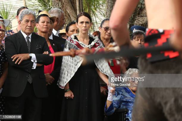 Prime Minister Jacinda Ardern is welcomed onto the upper Treaty grounds, Te Whare Runanga with deputy leader Winston Peters and Titewhai Harawira on...