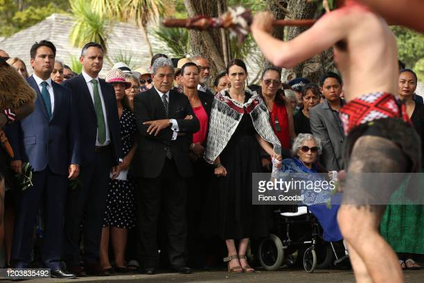 Prime Minister Jacinda Ardern is welcomed onto the upper Treaty grounds, Te Whare Runanga with deputy leader Winston Peters and Titewhai Harawira...